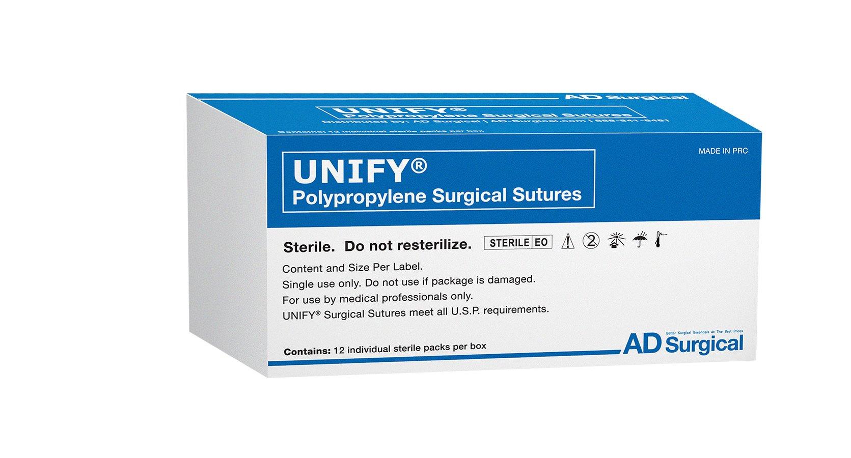 UNIFY Surgical Polypropylene Sutures. #S-P518R13 Non-Absorbable. Mono Blue. Size 5/0. 18''45cm Thread. 13mm 3/8 Circle R/C Needle (P-3/P-13). 12 Foil Packs/Box.
