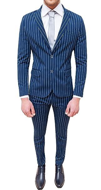 Abito completo uomo sartoriale blu a righe smoking vestito elegante  cerimonia (48) a83b7c2d2293
