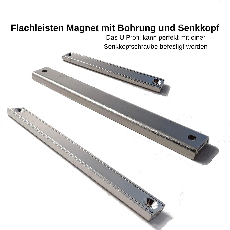 100x13,5x5mm mit Senkung 2 St/ück Neodym Magnet Mit Loch Senkloch Neodym Flachleiste Mit Bohrung und Senkung Senkbohrung