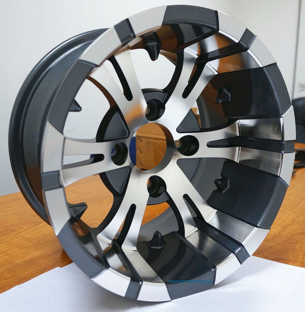 12'' Vampire Gunmetal Aluminum Wheels and 23X10.5-12'' All Terrain Golf Cart Tires Combo - Set of 4 by Golf Cart Tire Supply (Image #3)