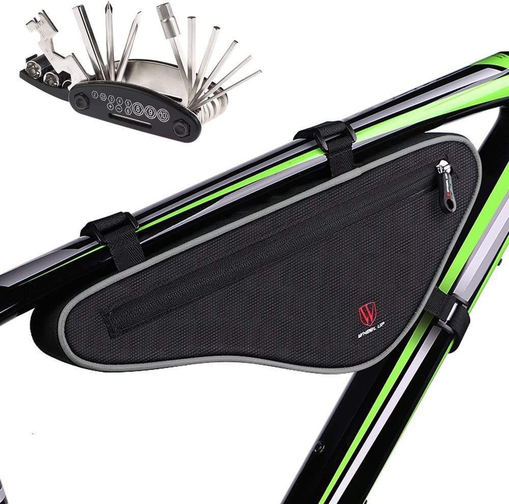 MOOZO Cycling Bicycle Bike Bag Top Tube Triangle Bag Front Saddle Frame Pouch Outdoor MTB Road Bike Front Bag with Reflective Stripe
