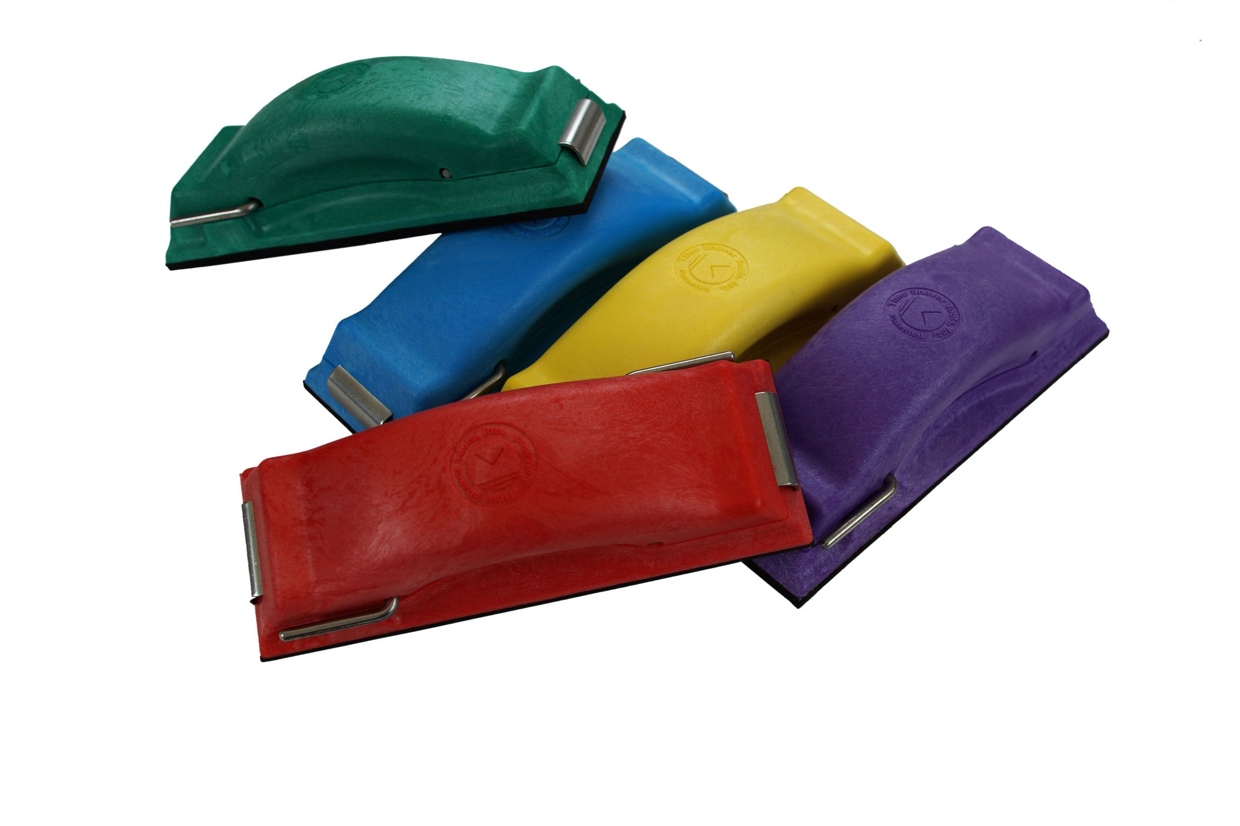 Time Shaver Tools Preppin' Weapon Ergonomic Sanding Block, for Wet and Dry Sanding! Easy to Load, Plain Paper Sander! Complete Set of 5 Color Coded Hand Sanders in Yellow, Blue, Green, Purple and Red. by Preppin' Weapon