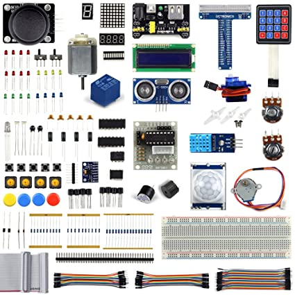UCTRONICS Ultimate Starter Learning Kit for Raspberry Pi 3 w/Tutorial,  ADXL345, GPIO Cable, DC Motor, HC-SR04 Ultrasonic Distance Sensor, LED  Displays