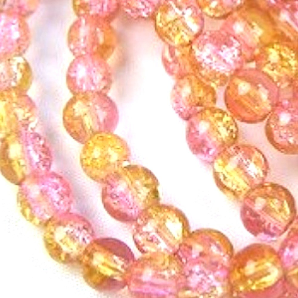 50 pieces 8mm Crackle Glass Beads - Pink & Golden - A1839 k2-accessories