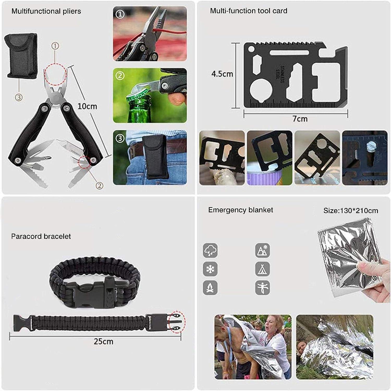 Equipo de Supervivencia Profesional Kit de Primeros Auxilios starte Kit de Supervivencia de Emergencia Linterna t/áctica de Emergencia SOS br/újula con Bolsa de Camuflaje para Aventuras de Acampada