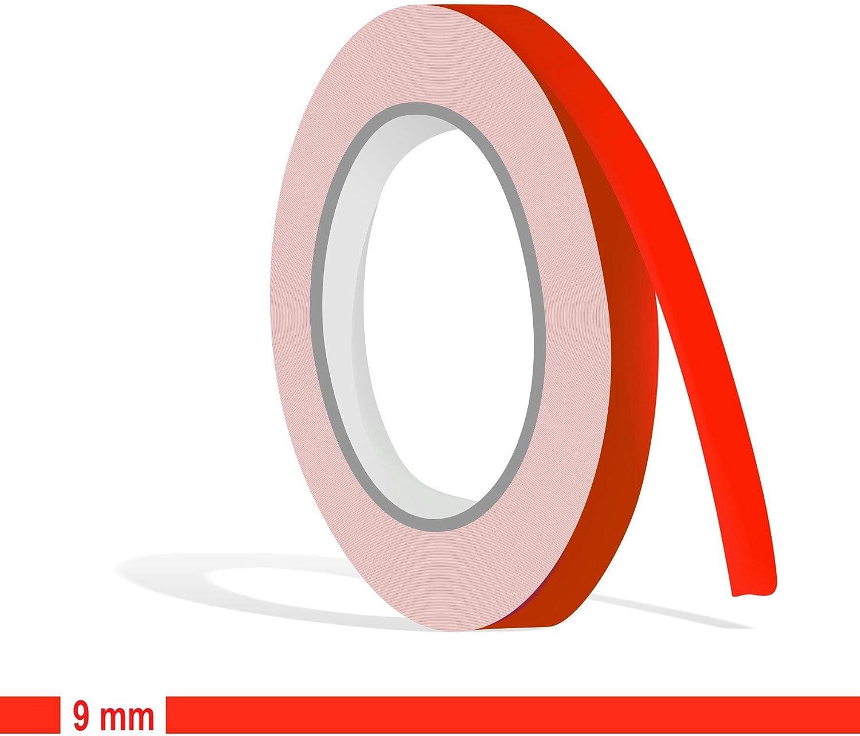 Siviwonder Zierstreifen Neon Rot Leuchtend Glanz In 9 Mm Breite Und 10 M Länge Aufkleber Folie Für Auto Boot Jetski Modellbau Klebeband Dekorstreifen Fluoreszierend Grell Rot Auto
