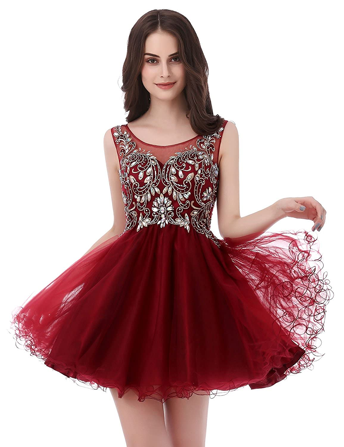 142burgundy Sarahbridal Women's Short Tulle Beading Homecoming Dresses 2019 Prom Party Gowns