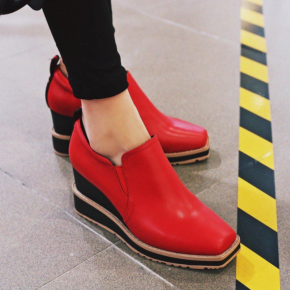 DIDIDD Frühjahr und Herbst High-End-Casual Schuhe Platz mit Tief Sitzenden Rot Schuhen mit Stöckelschuhen Rot Sitzenden 34 2ee4df