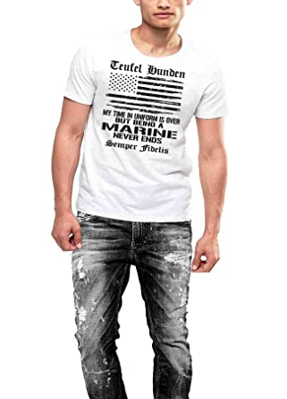 cd687d62 USMC T-shirt Veteran Once A Marine Patriotic Semper Fidelis | Amazon.com