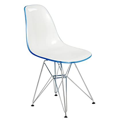 Fabulous Leisuremod Carey Modern Eiffel Base Molded Dining Side Chair White Blue Pabps2019 Chair Design Images Pabps2019Com