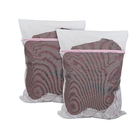 Juego de 6/Resistente Bolsa para la Colada de Malla Gruesa con Cremallera para Ropa Vivifying Lavado Net Bolsas la Ropa Delicada Color Blanco
