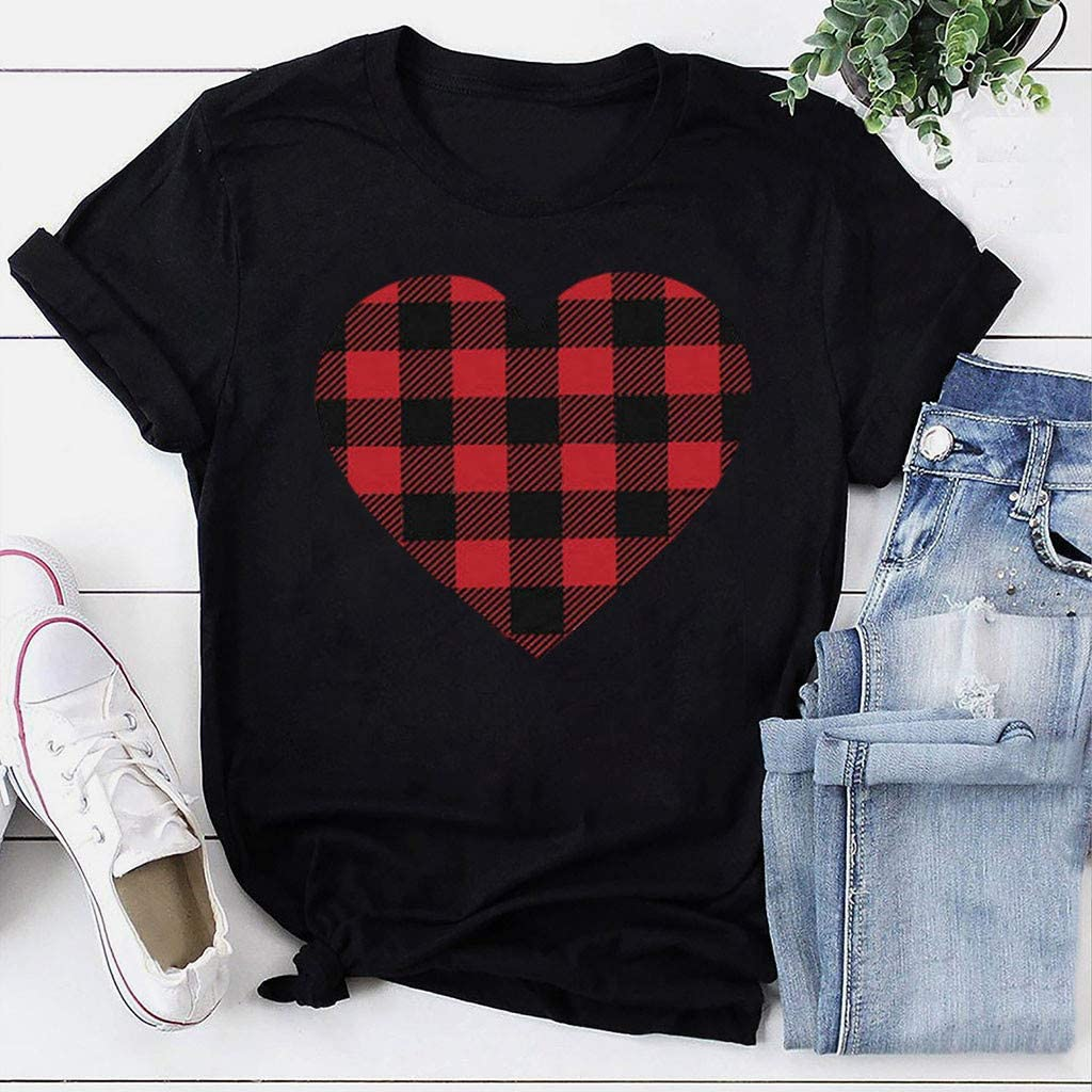 GDJGTA Valentines Day Shirt Buffalo Plaid Love Heart Graphic Tees Letter Print Short Sleeve Tops Shirts for Women