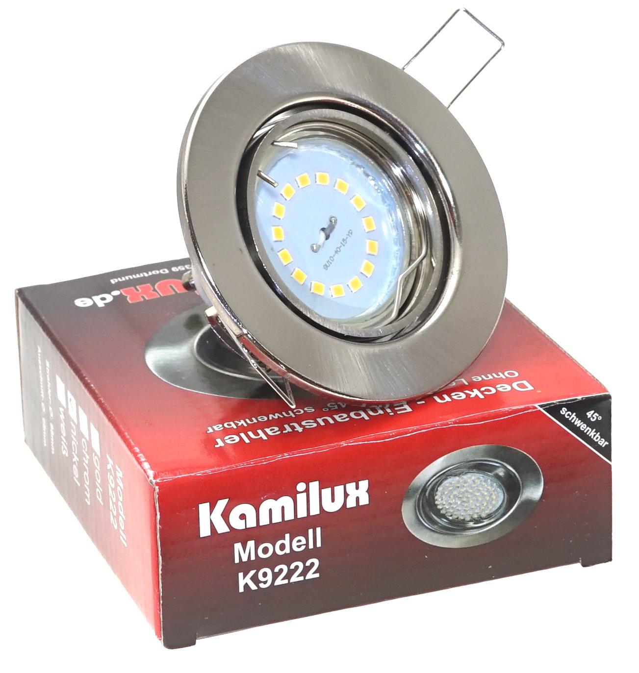 Einbaustrahler/Spot Tom Edelstahl-gebü rstet Optik 230V inklusive Power SMD LED Leuchtmittel 5 Watt GU10 230V warmweiß , Dimmbar mit einem herkö mmlichen Lichtschalter, 3-Stufen Dimmung Kamilux K9222-6450124ww