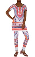Two Piece Outfits for Women African Dresses Geometric Printed Dashiki Top and Leggings Sets