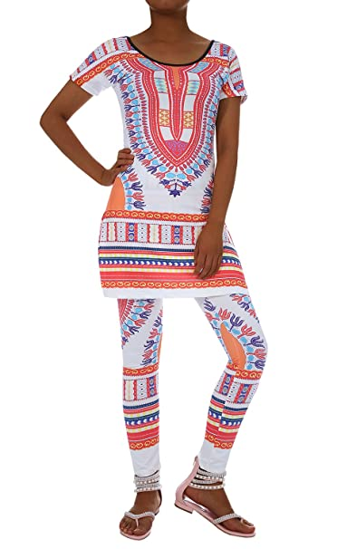 a6dc0197d75c Amazon.com  Inorin Two Piece Outfits Women African Dresses Geometric Printed  Dashiki Top Leggings Sets  Clothing
