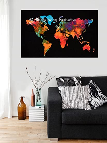 Amazon.com: World Map Cotton Wall Decor Bohemian Hippie Tapestries ...