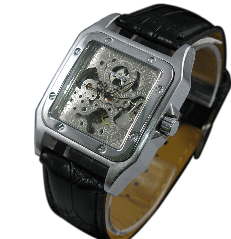 Vigoroso Men 's Squareブラックレザースケルトン自動機械腕時計 B00UHGG5LK