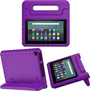 MoKo Kids Case Fits All-New Amazon Kindle Fire 7 Tablet (9th Generation, 2019 Release), Durable EVA Kid-Friendly Shock Proof Portable Handle Protective Stand Cover - Purple