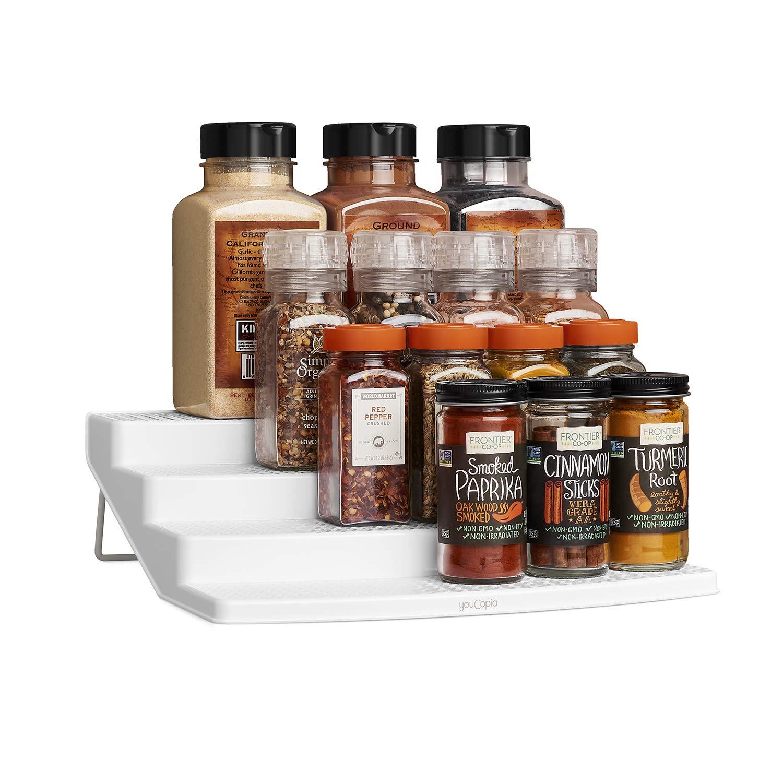 YouCopia ShelfSteps 4-Tier Spice Shelf Cabinet Organizer, Large, White
