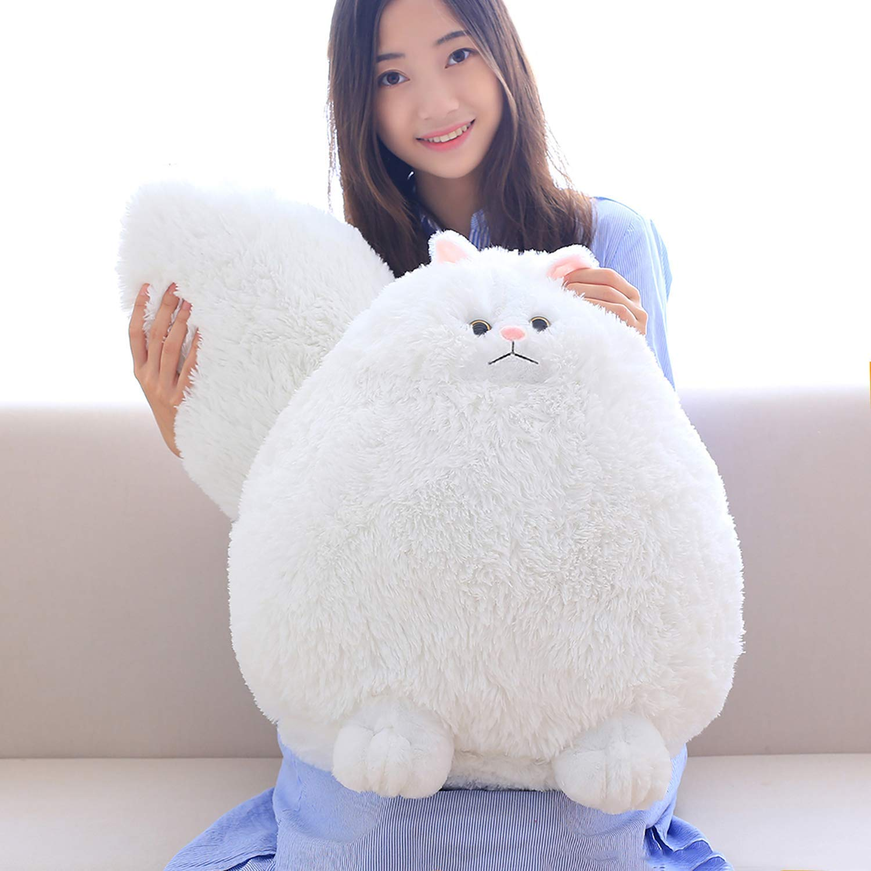 Amazoncom Winsterch Fluffy Giant Cat Stuffed Animal Toy White