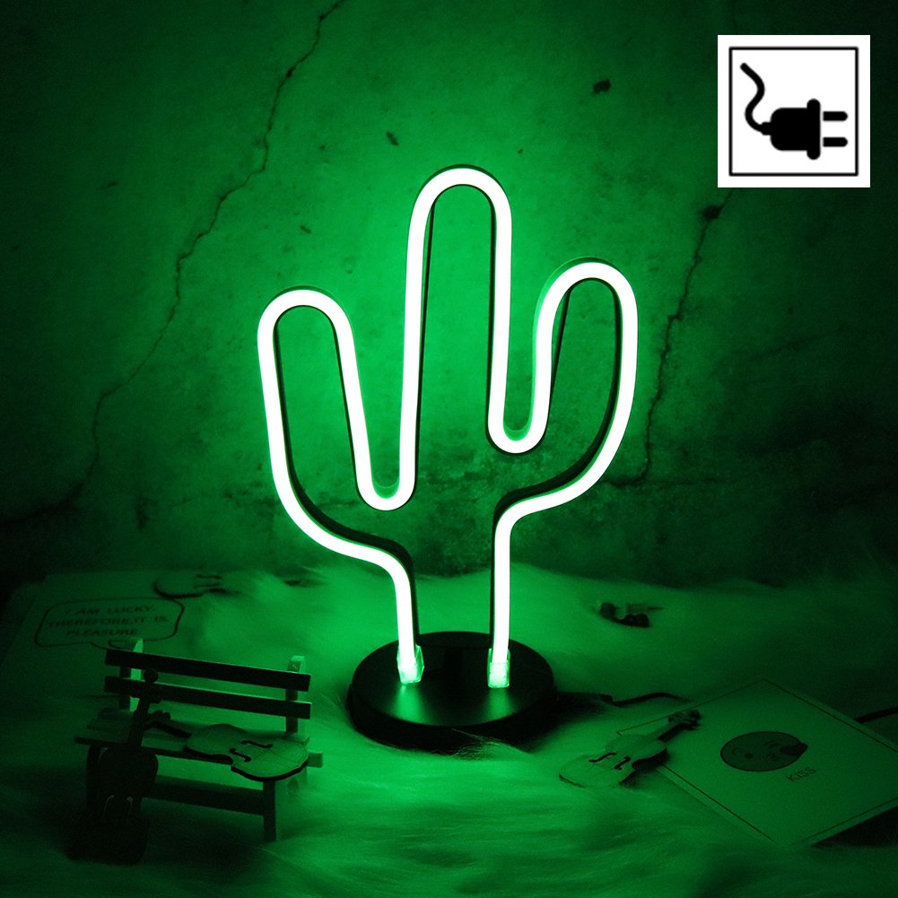 Cactus Neon Signs LED Night Light Wall Decor Light Operated By plug for Birthday party,Kids Room, Living Room, Wedding Party Decor . by HYNAWIN