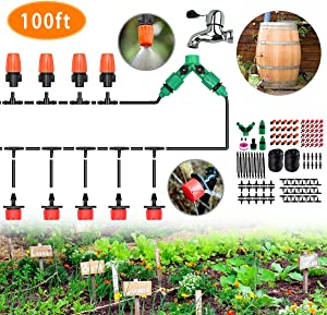 "CYEVA 100ft Rain Barrel Drip Irrigation Kit with Y Shape 2-Way Splitter, 1/4"" Blank Distribution Tubing, DIY Water-Saving System for Vegetable Garden Patio Pot Plants Raised Bed"