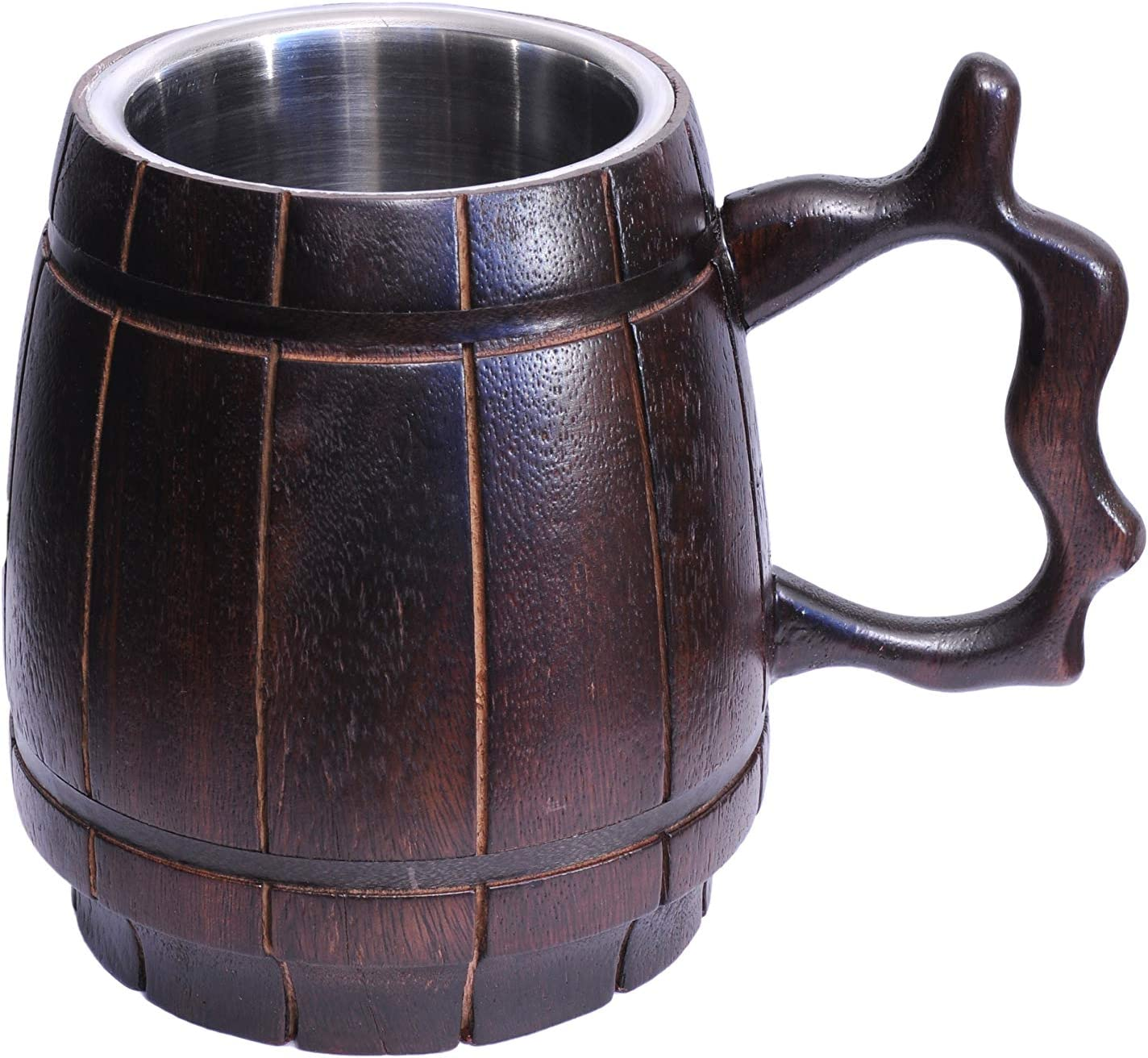 Frescorr - Handmade Beer Mug (550ml, 18oz) ,Wood and Stainless Steel Cup Natural Eco-Friendly Barrel Brown, Beer Tankard - Natural wood and stainless steel Beer Mug