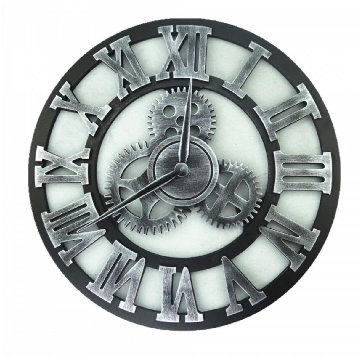 MODE HOME 16'' 3D Vintage Wooden Gear Wall Clock Decorative Big Size Kitchen Wall Clock