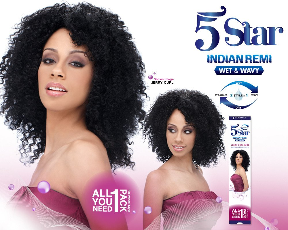 Amazon Harlem 125 5 Star Indian Remi Jerry Curl 5 Pcs Wet