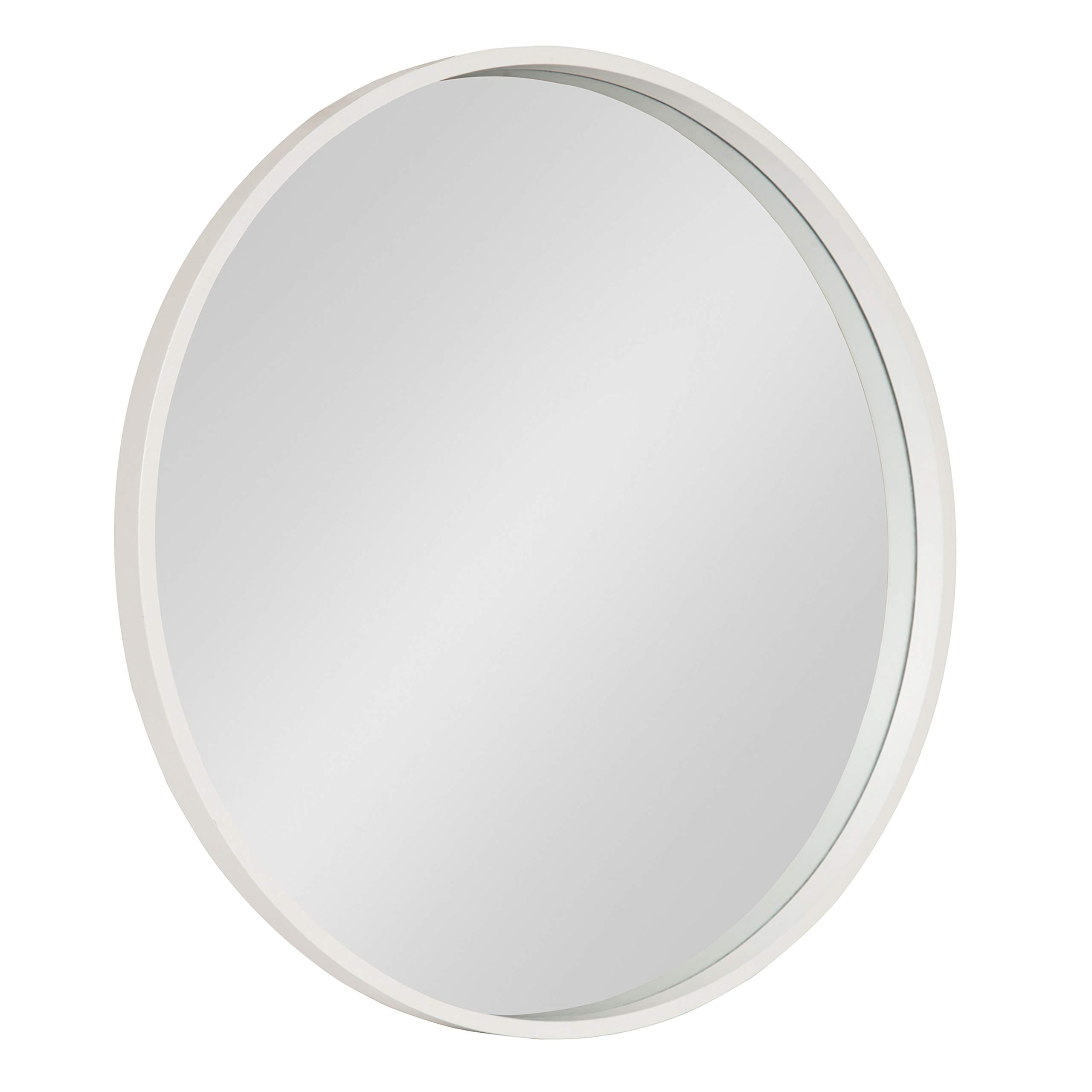 Kate and Laurel Travis Round Wood Accent Wall Mirror, 25.6'' Diameter, White