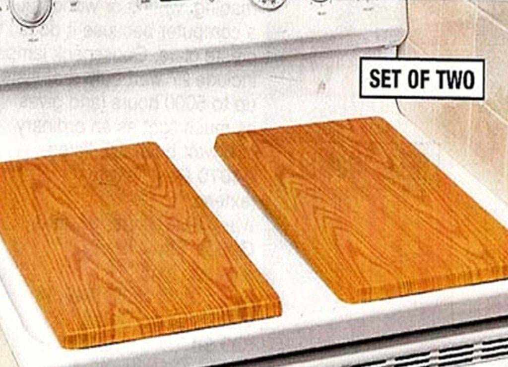 DECORATIVE WOOD-TONE METAL BURNER COVERS - WALNUT (SET OF 2)