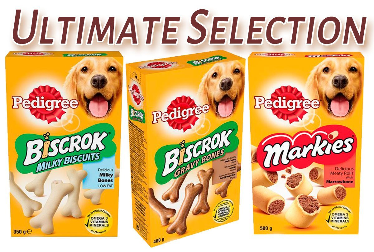 Pedigree Dog Treats Selection - Markies - Gravy Bones - Milk Bones (Pack of 3)