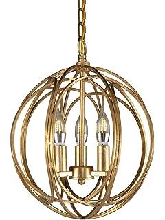Docheer 3 Light Vintage Wrought Rustic Iron Chandelier Orb Ceiling Pendant  Chandelier Lamp Fixture W13