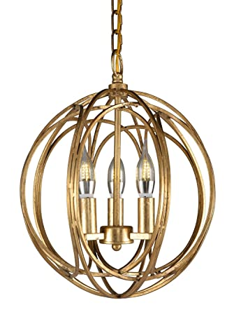 Docheer Vintage Gold Metal Globe Shape Orb Candle Chandelier Industrial Lighting Ceiling Pendant Lamp 3 Light Hanging Fixture For Dining Room Bedroom,Entryway,Cafe Bar by Docheer