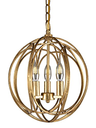 Docheer Vintage Gold Metal Globe Shape Orb Candle Chandelier Industrial Lighting Ceiling Pendant Lamp 3-Light Hanging Fixture for Dining Room Bedroom,Entryway,Cafe bar