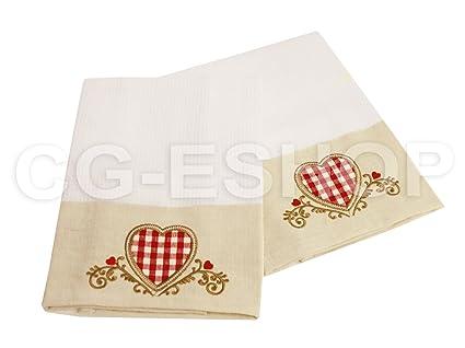 Juego de 4 toallas de cocina tirolés Corazón Nido de abeja algodón paño Dis.3