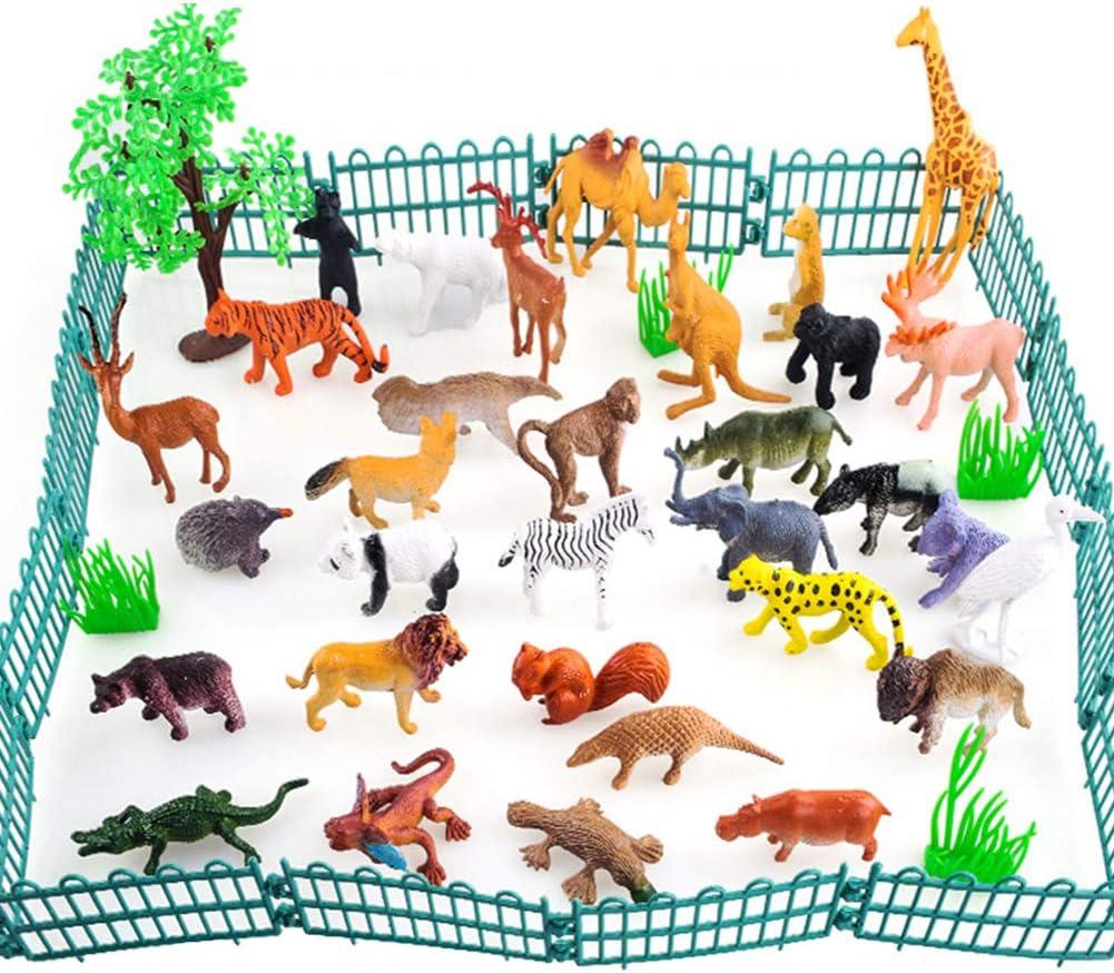 BESTZY Modelos De Animales 53Pcs Animales De la Selva Juguetes para niños Aprendizaje Playset Educativo Favores de Fiesta Regalos