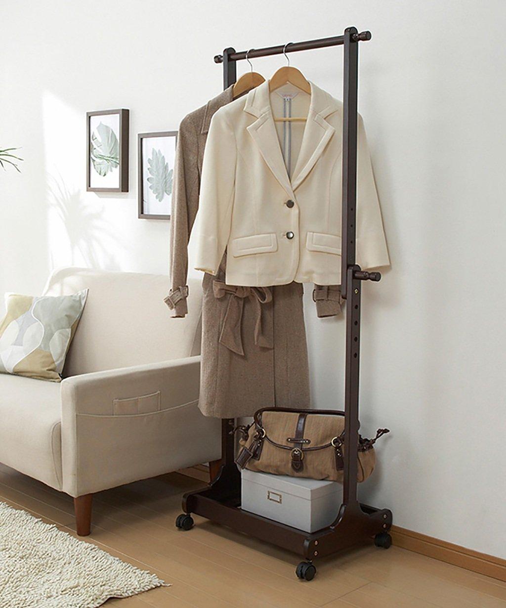 Altura Ajustable 132-150 Cm 4 Colores Opcional Muebles Interiores Simples JIANFEI Durable Perchero Burro Perchero Ropa Madera Maciza con 1 Capa Zapatero Color : Brown