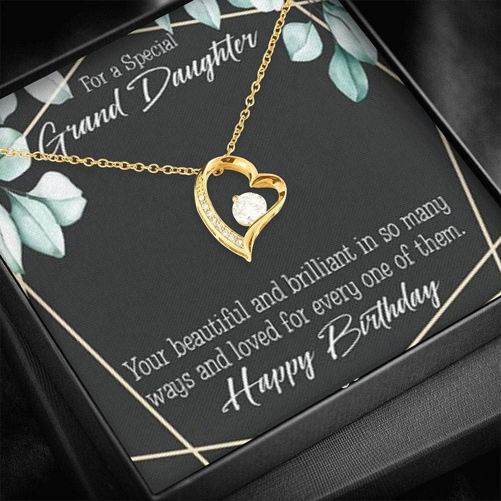 Gift for Granddaughter Happy Birthday Granddaughter Forever Love Necklace-CZ Heart Pendant Stainless Steel or 18k Gold