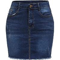 SHEIN Falda de Mezclilla elástica básica para Mujer, Color Azul Marino