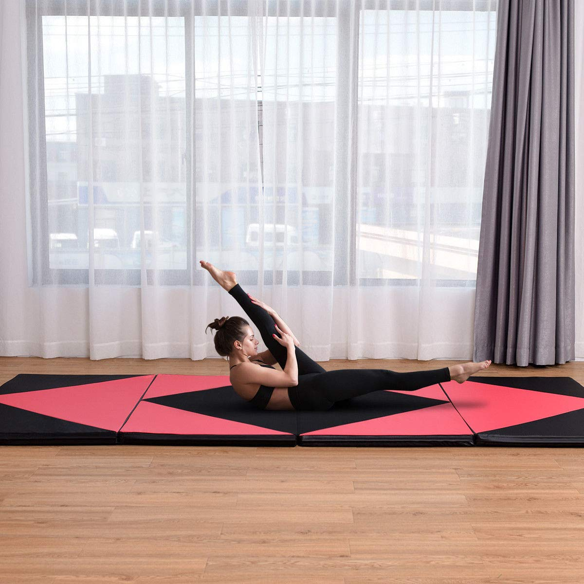 COSTWAY 4'X10'X2 Gymnastics Mat Folding Panel Thick Gym Fitness Exercise Pink/Black New by COSTWAY (Image #2)