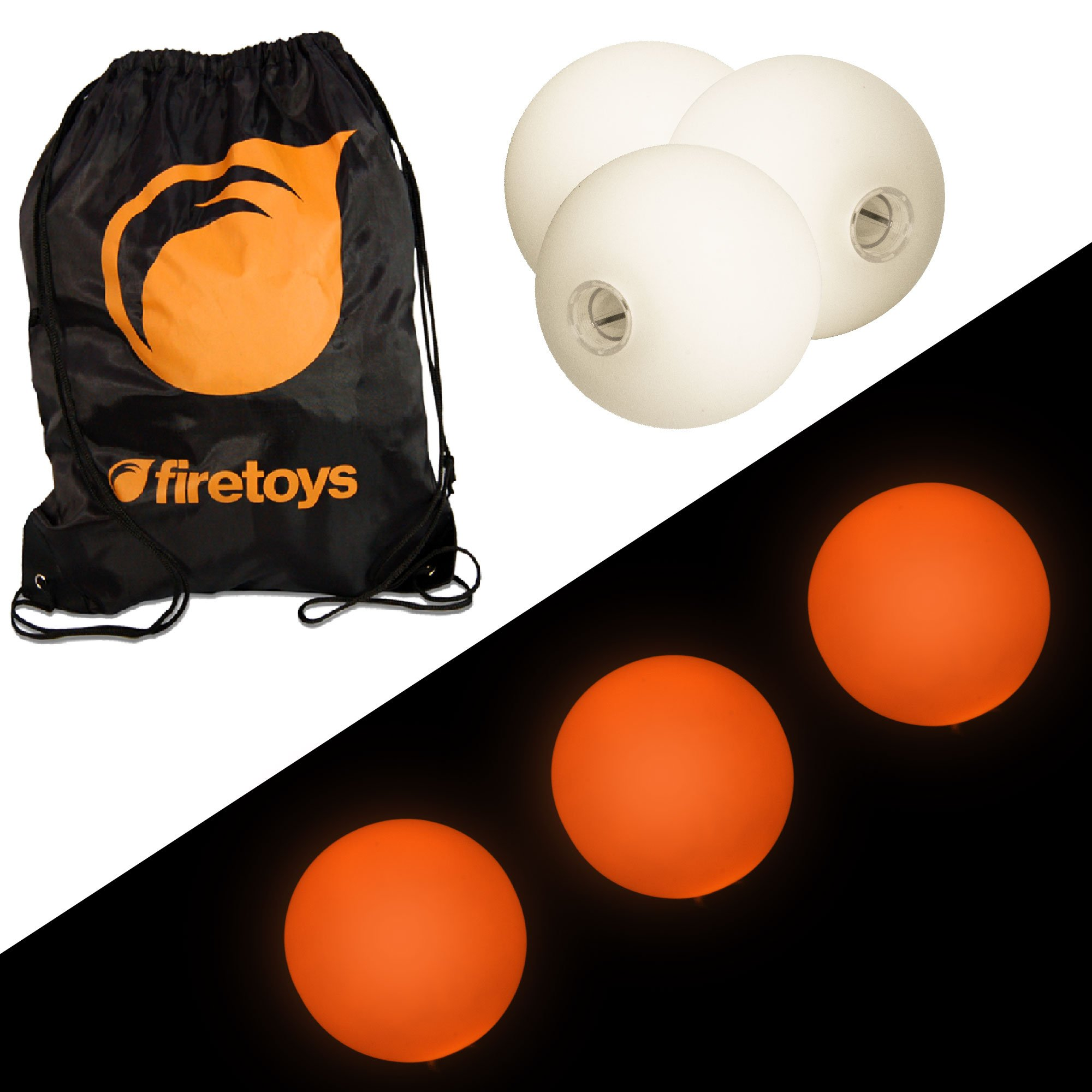 Glow Juggling Ball Set - 3X Orange LED Juggling Balls & Firetoys Bag by Firetoys