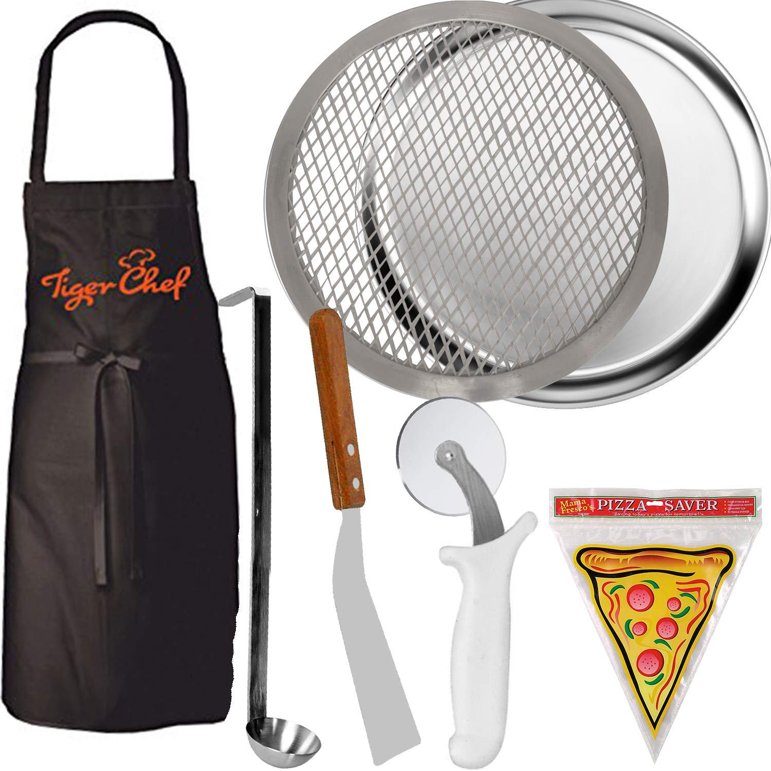 Tiger Chef 16'' Pizza Making Kit. Pizza Pro Set Includes Kitchen Tools to Create Your Own Homemade Pizza. 16'' Pizza Pan, 16'' Pizza Screen, Pizza Wheel, Server, Ladle, Apron & 12 Pizza Saver Bags by Tiger Chef