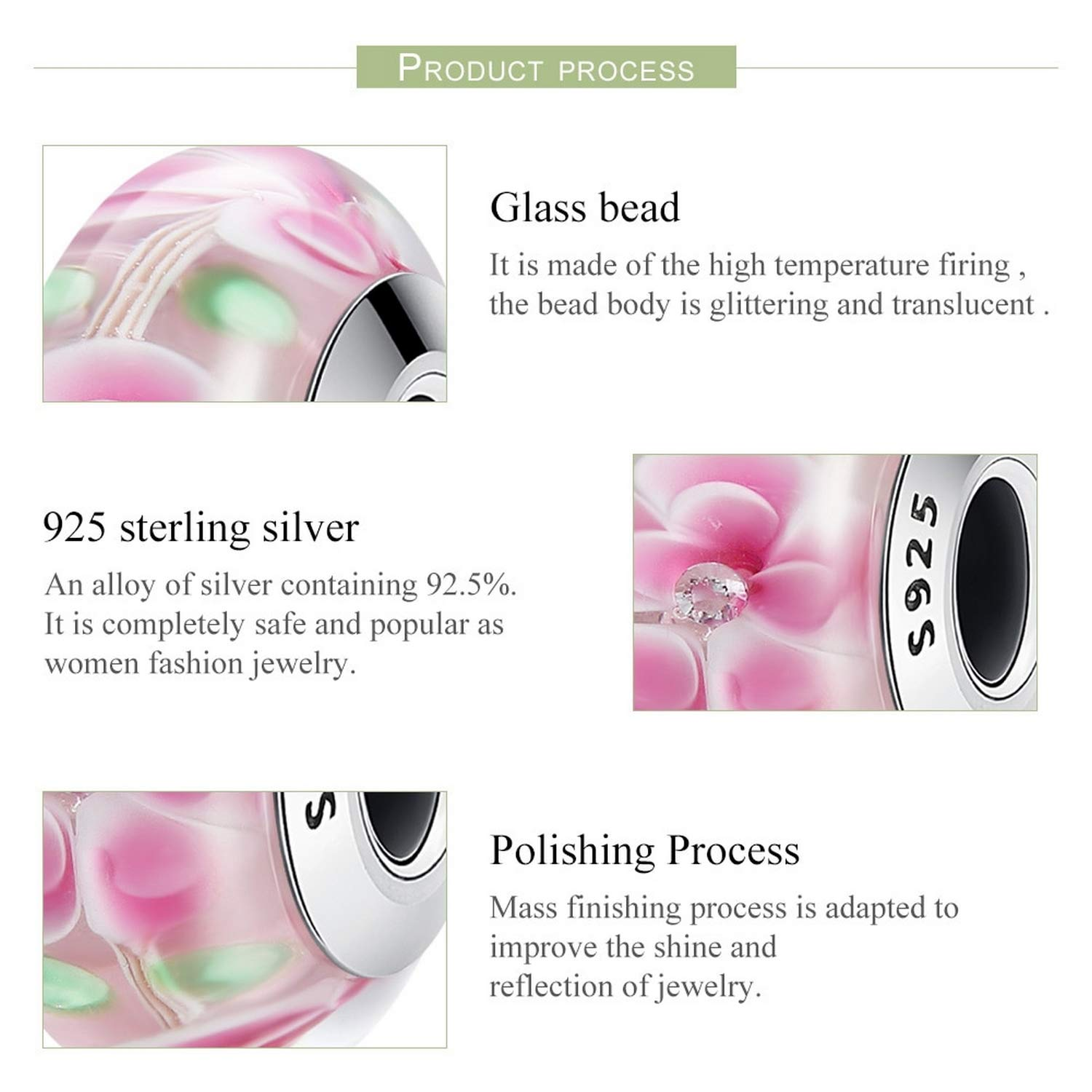 EverReena Beads Romantic Pink Flower Murano Glass for Silver Bracelets