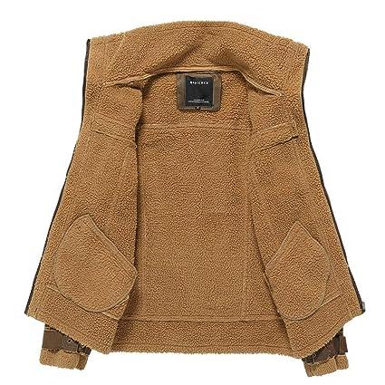 kemilove 2018 Mens Winter Medium Length Retro Multi-Pocket Thickening Leather Jacket Coat at Amazon Mens Clothing store: