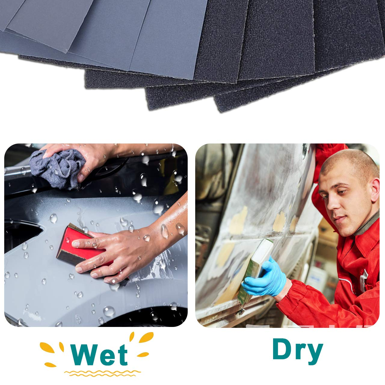Sand paper 9 x 3.6 Inches. Metal Sanding and Automotive Polishing Premium Wet Dry Waterproof Sandpaper 48PCS 120 to 3000 Assorted Grit Sanding Paper for Wood Furniture Finishing