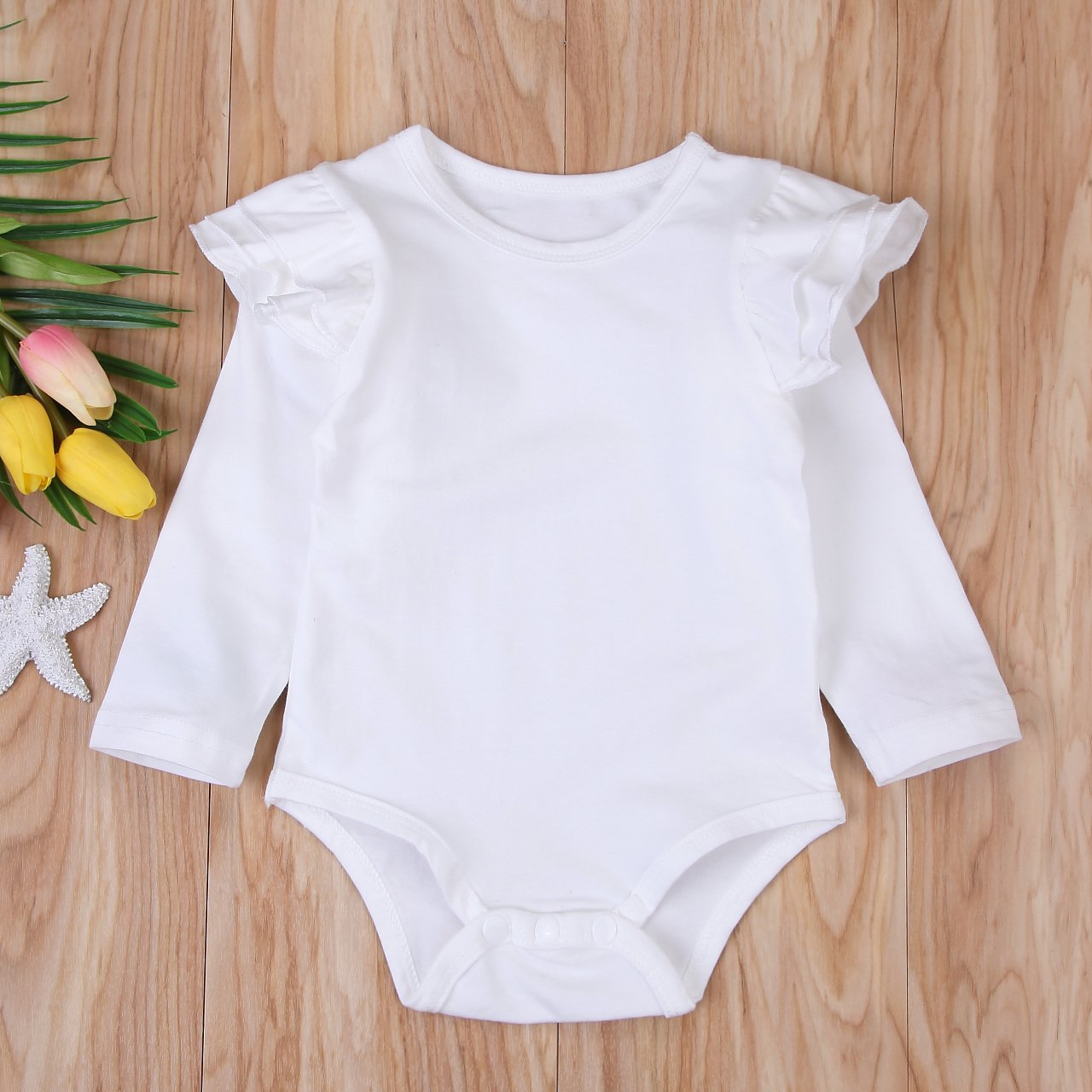 Minesiry Infant Baby Girl Basic Ruffle Long Sleeve Cotton Romper Bodysuit Tops Clothes