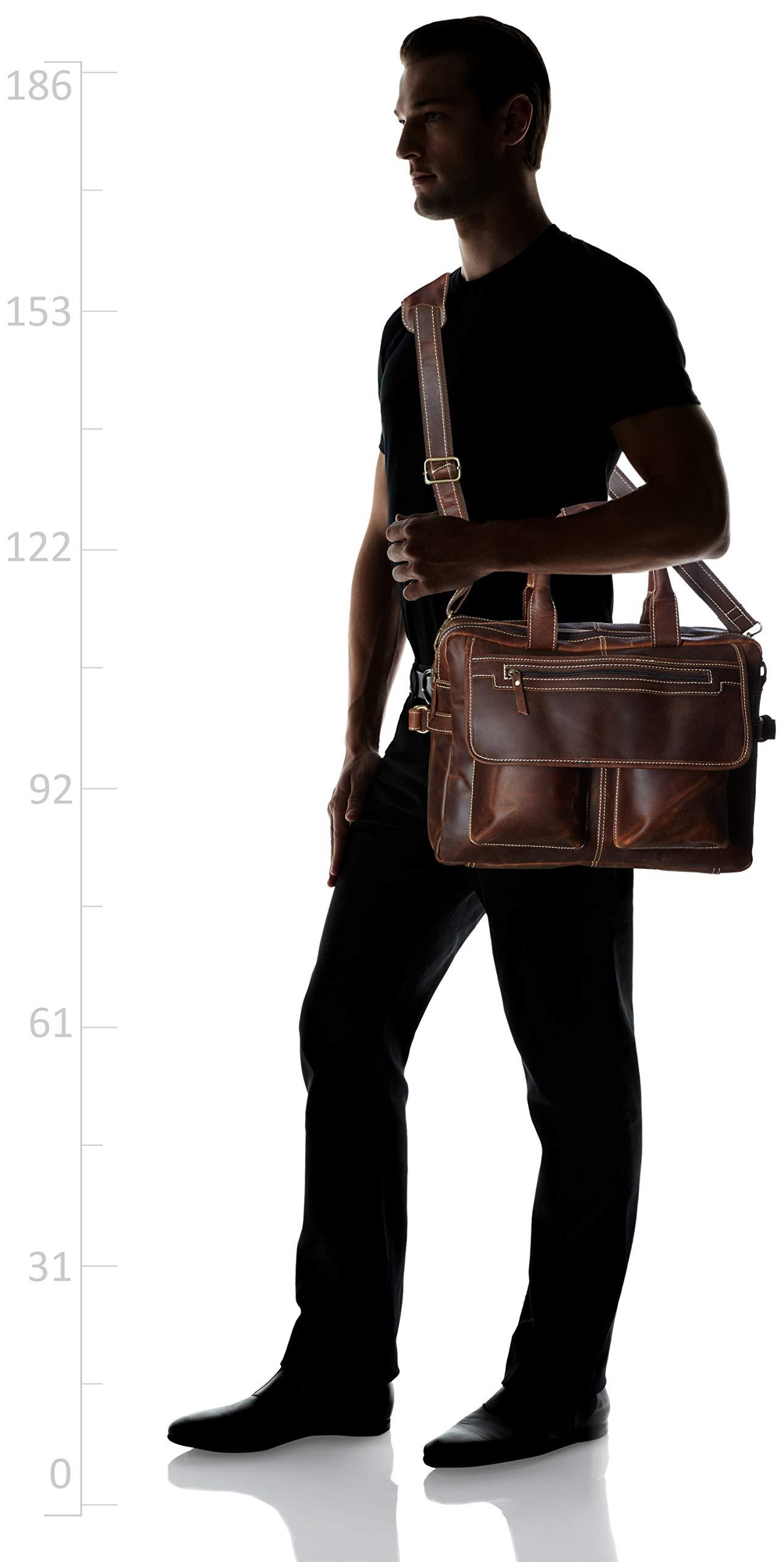 16 inch Vintage Buffalo Leather Messenger Satchel Laptop Briefcase Men's Bag Crazy Vintage Leather Messenger (Brown) by Ruzioon (Image #6)