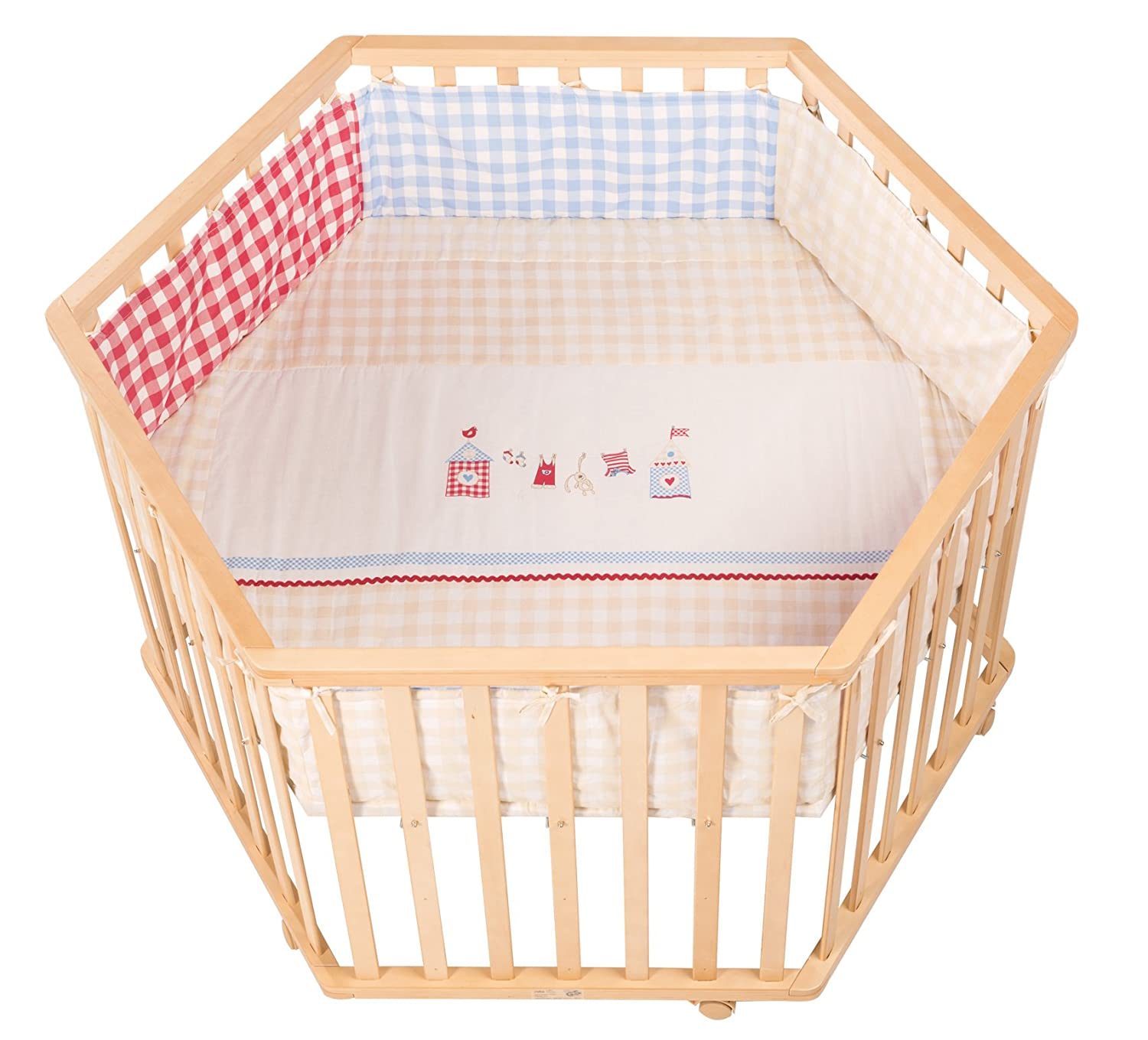 roba-kids 0232V144 - Parque hexagonal, diámetro 120 cm, en madera maciza natural, regulable a tres alturas 0232 V144