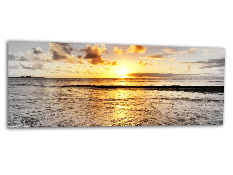 KD Dsign+ XXL Glasbild AG312500553 MURAL GOLDENES MEER S/W 125 x 50 cm/WANDBILD Deco Glass/Handmade